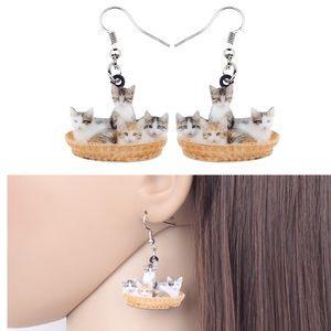 Litter of Kittens in a Basket Acrylic Earrings
